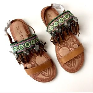 New Musse & Cloud Maeba Leather Fringe Sandals